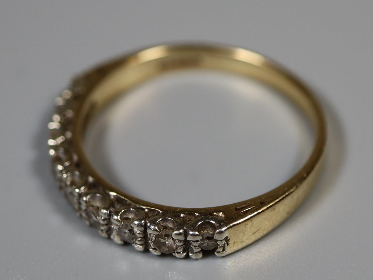 9ct gold and diamond half eternity style ring. Ring size Q. Approx weight 2.8 grams. (B.P. 21% + - Image 3 of 3