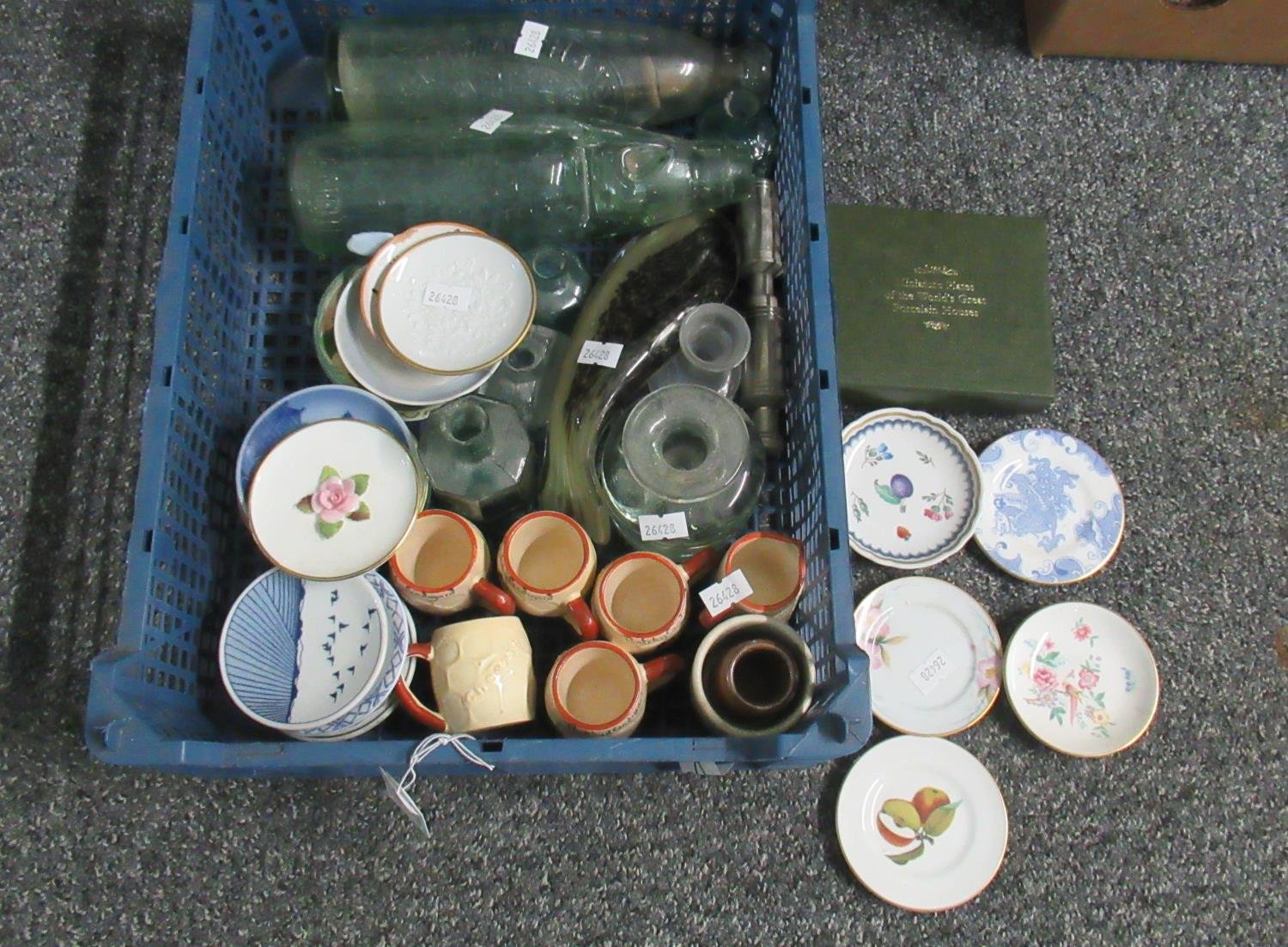 Box of china and glassware to include; a collection of miniature plates including; Royal Doulton,