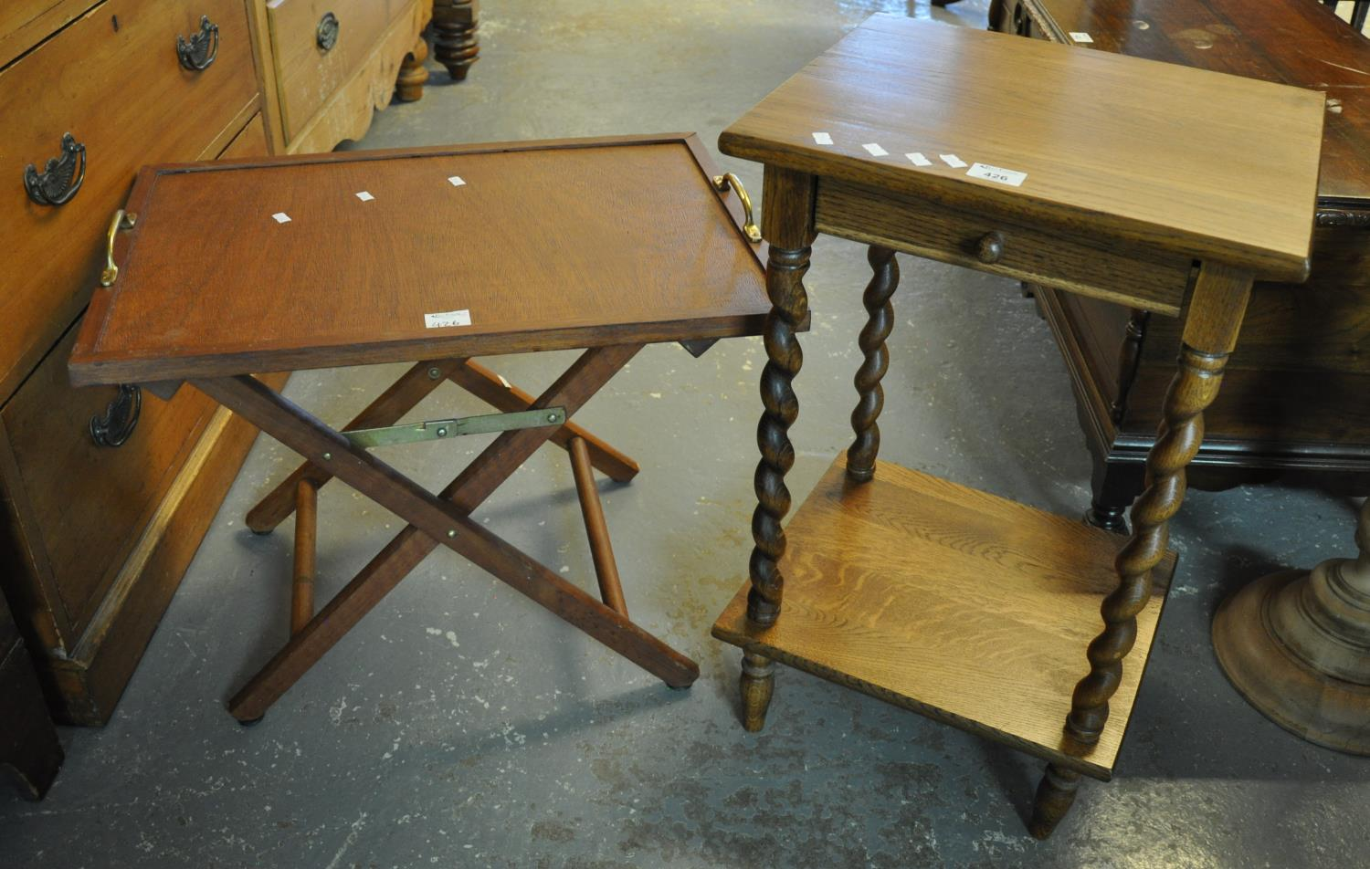 Modern Teak tray top folding butlers table, together with a 20th century barley twist oak single
