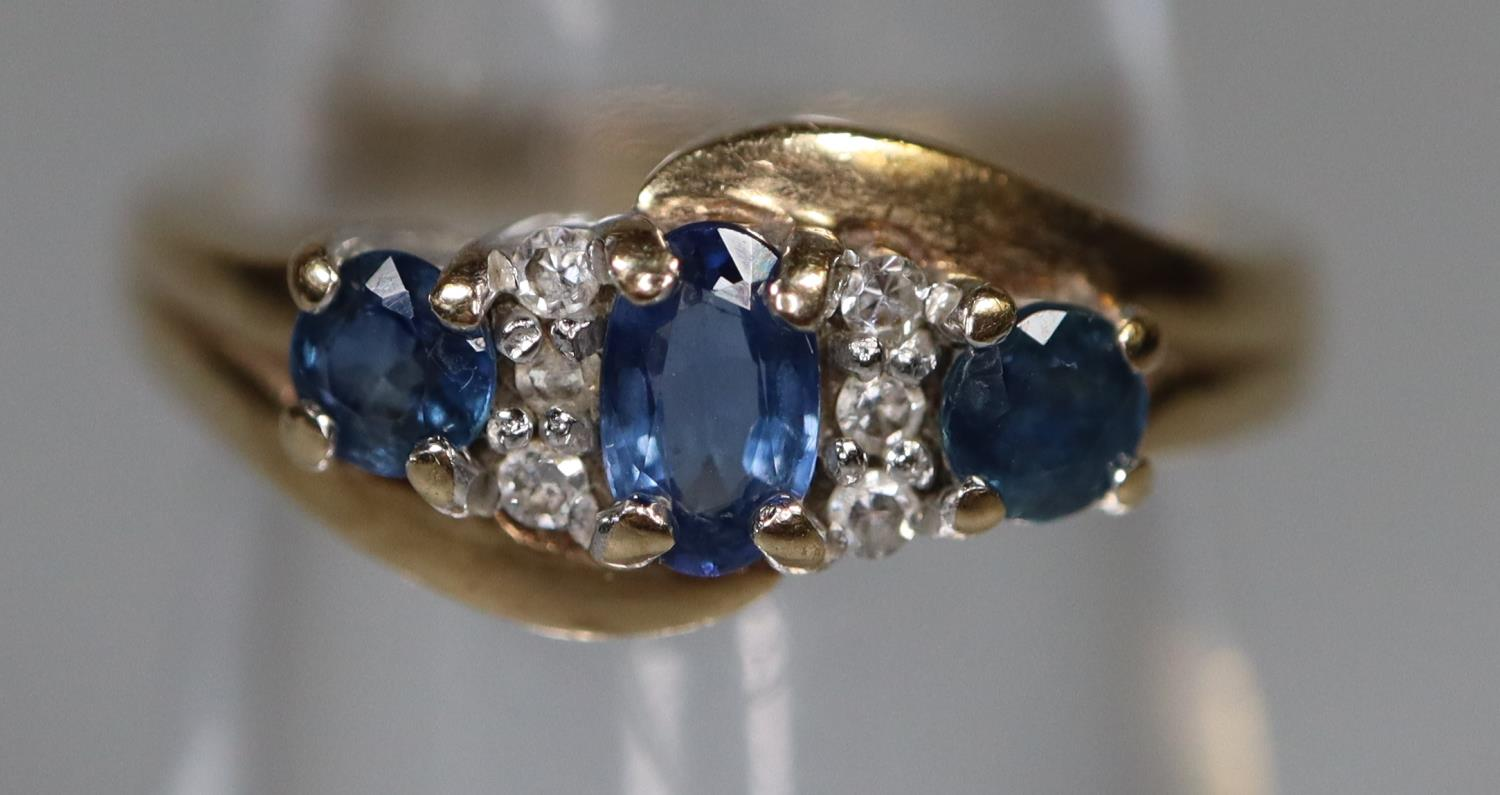 9ct gold sapphire and diamond cluster ring. Ring size H. Approx weight 3 grams. (B.P. 21% + VAT) - Image 2 of 3
