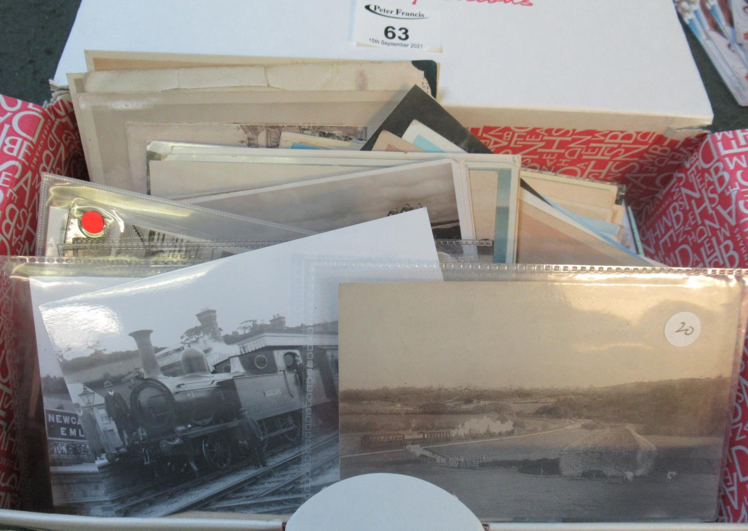 Postcards selection in shoe box mostly topographical and range of Welsh Costume cards. (B.P. 21% +