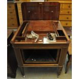 Edwardian mahogany inlaid Aeolian-Vocalion graduola/gramophone having replacement turn table. (B.