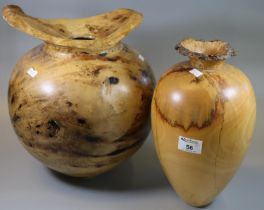 Large baluster-shaped spalted sycamore vase, signed John de Filippo. With a similar tapering