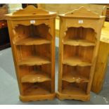 Pair of modern pine free standing corner cabinets with shaped shelves. (2) (B.P. 21% + VAT)