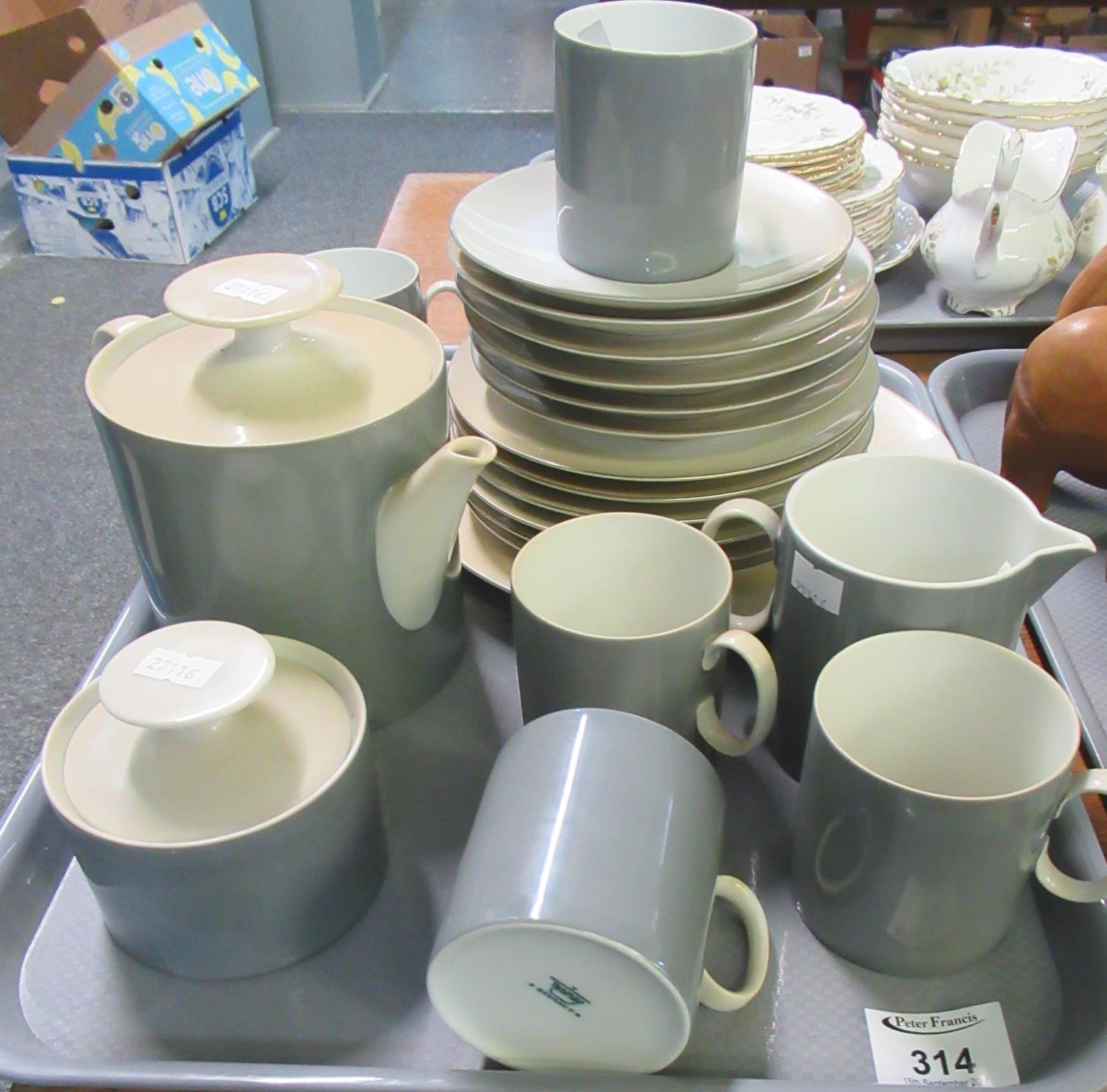 Tray of German porcelain coffee and dinnerware items marked 'Thomas, Germany' to include; coffee