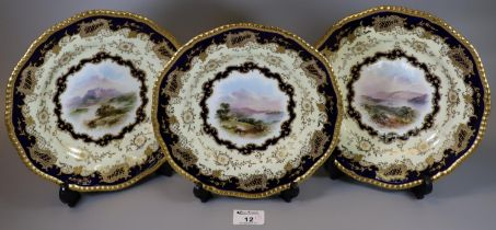 Three late 19th/early 20th Century Coalport porcelain cabinet plates, each depicting a hand