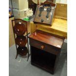 Three furnishing items to include; Edwardian three tier inlaid folding cake stand, gothic design oak