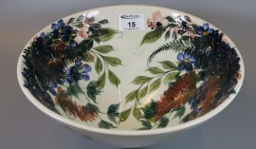 Modern Gwili Pottery hand painted floral and foliate bowl. 28cm diameter approx. (B.P. 21% + VAT)