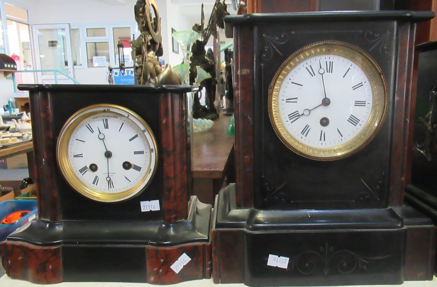 Two late 19th/early 20th Century black slate and marble mantel clocks, one two train movement marked