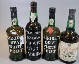 Collection of port to include; two Almeida's dry white port, D'Oliveiras Reserva old wine 1957
