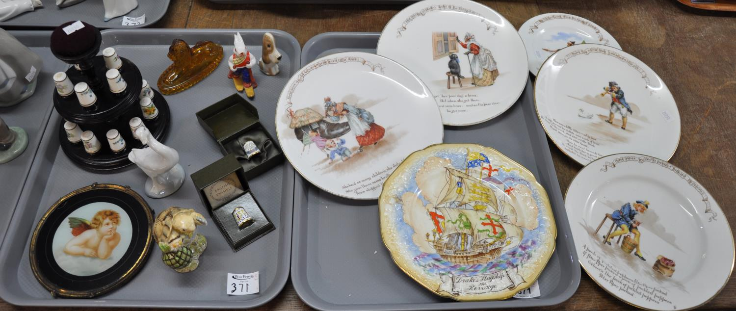 Two trays of china to include: four Royal Doulton Nursery Rhyme plates, four large including '