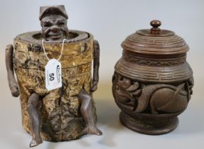 Novelty zinc lined figural tobacco box with hinged cover and with a gentleman's head and