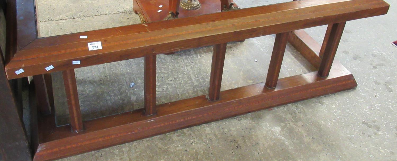 Edwardian mahogany inlaid club fender. (B.P. 21% + VAT)