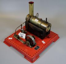 Griffin & George Ltd. working live steam stationary engine on square base. Spirit fired. (B.P. 21% +