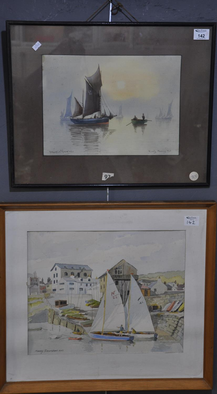 J. Morris Hosking, 'Early Morning Mist', signed, watercolours. 26 x 34cm approx. Together with Harry