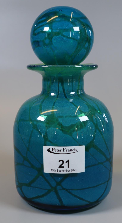Mdina art glass mallet shaped jar and stopper. (B.P. 21% + VAT)