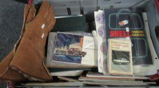 Box of motoring ephemera to include: 2012 Formula One Gulf Air Bahrain Grand Prix tie, pair of