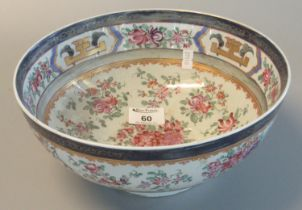 French Sampson porcelain, Chinese export style armorial bowl overall with painted floral