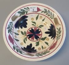 19th century Llanelly style circular bowl, hand painted with flowers and foliage. Unmarked. 29 cm