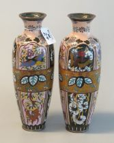Pair of Chinese cloisonne vases of ovoid form decorated with multi-coloured stylised birds,