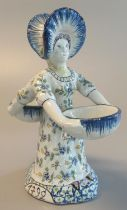 French faience double sided salt seller in the form of a double headed lady in bonnet. Blue