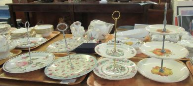 Collection of four cake stands: one Pierre Redoute, decorated with Rosa Centifolia flowers, a