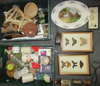 Two boxes of assorted items to include: two small glass cases containing mounted butterflies, oval