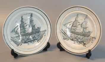Pair of 19th century Dillwyn Swansea ships plates. 23 cm diameter approx. (B.P. 21% + VAT)