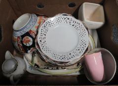 Mixed box of china to include: rectangular meat platter decorated with prunus blossom branches,