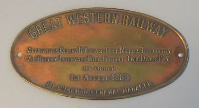 Reproduction Great Western Railway oval shaped brass machinery sign, dated 1863. 14 cm long