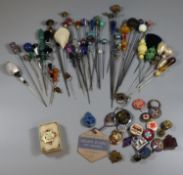 Collection of hat pins and badges. (B.P. 21% + VAT)