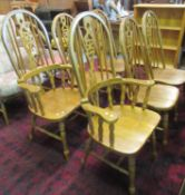 Set of six modern hardwood wheel hoop and spindle back kitchen chairs, 4 & 2. (6) (B.P. 21 + VAT)