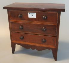 Edwardian mahogany inlaid miniature apprentice straight front chest with three drawers and turned