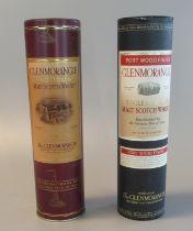 Two Glenmorangie single Highland malt scotch whisky in original tubular boxes, one port wood finish,