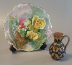 Doulton Lambeth 1884 stoneware baluster single handled jug with relief moulded flowerhead and