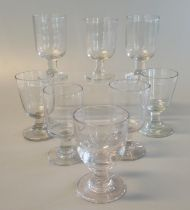 Collection of eight 19th century glass pub rummers. (8) (B.P. 21% + VAT)