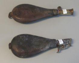 Two leather shot flasks with brass dispenser mounts. (B.P. 21% + VAT)