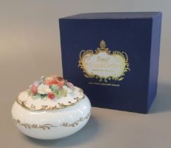 Royal Crown Derby limited edition ceramic floral box to celebrate the 90th birthday of Her Majesty