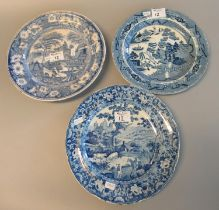 Three 19th century blue and white transfer printed plates, one willow pattern by Dilwyn, Swansea,