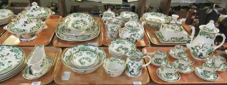 Eight trays of Masons 'Chartreuse' printed and hand-painted dinnerware decorated in greens,