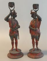 Pair of polychrome decorated and gilded spelter Italianate figures, probably depicting lamp