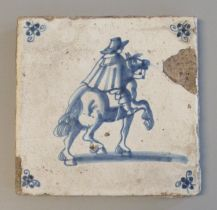 18th century delft blue and white tile depicting a man on horseback. 13x13 cm approx. (B.P. 21% +
