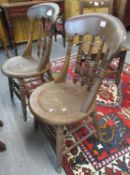 Early 20th century elm and beech spindle back kitchen chairs on circular moulded seats and turned