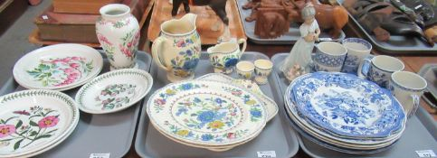 Three trays of assorted china, one of Portmeirion: two 'Weeping Hearts' plates together with a