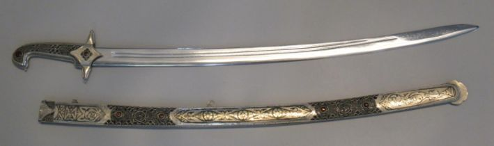 Modern Persian style marmeluke sword or sabre, the hilt and scabbard has blued decoration,