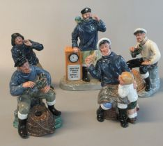 Group of five Royal Doulton china marine figures 'Sea Harvest' HN2257, 'The Lobster Man' HN2323, '