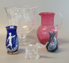 Collection of glass to include cranberry glass single-handled jug of baluster form, Mary Gregory