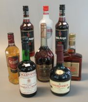 Collection of alcoholic spirits to include two bottles Captain Morgan the original rum, V.S. Fine