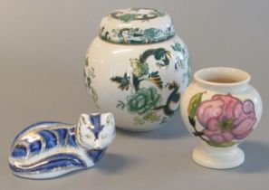 Small masons ironstone chartreuse design ginger jar and cover, a small Moorcroft baluster shaped