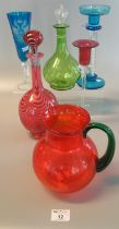 Collection of coloured art glass items to include; Russian design blue drinking vessel,